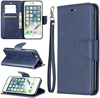 ZIXIXI Retro Durable Unanimous Color PU Leather Magnetic Flip Wallet Case with Card Slots & Holder for iPhone 7 Plus / 8 Summation, for iPhone 7 Summation / 8 Addition Case (Color : Blue)