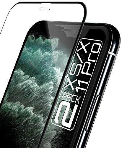 """MOBILE NATION [2 Pack] 3D Schutzglas für iPhone 11 PRO/iPhone XS (5,8"""") Full Screen Abdeckung Aufbringung mit Rahmen 0.33mm Asahi Glas 9H Kratzschutz maximale HD Klarheit hüllenfreundlich"""