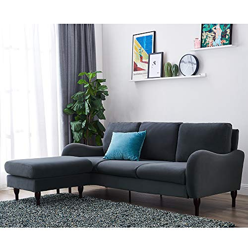 Panana 3 Seater Sofas L Shaped Sofa Settee Velvet Fabric Sofa Luxurious Corner Sofa Couch with Footstool Left or Right Chaise Modern Sofa for Living Room Home Furniture (Velvet Fabric Gray)