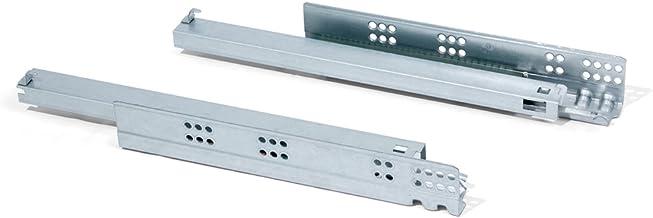 Emuca 3050305 set onzichtbare geleiders voor lade, volledig uittrekbaar, soft-sluiting, verzinkt, 290 mm