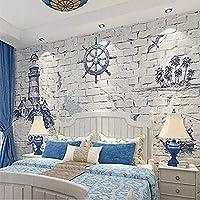 カスタマイズされた地中海スタイルの子供部屋の壁紙3D灯台航海ソファ寝室の背景壁カバー400cmx280cm