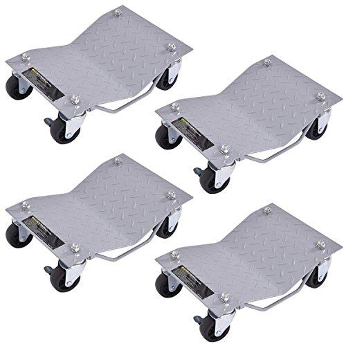 "Goplus 4 PCS 4 X 3"" Set Wheel Dollies Dolly Tire Skates Vehicle Car Auto Repair Moving Diamond, Gray"