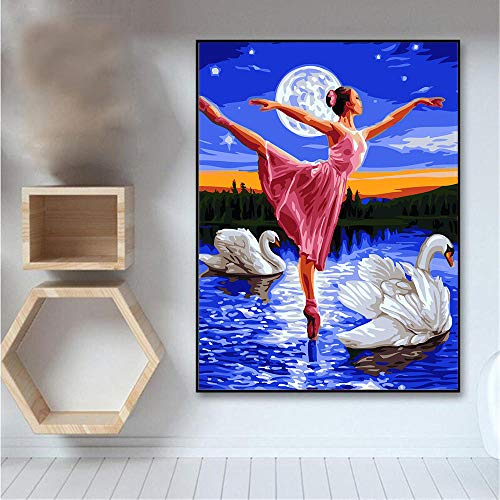 DIY 5D Diamante Pintura Kits Chica de ballet Grande Taladro Completo Diamond Painting Bordado cuadros Rhinestone Punto de Cruz Diamante arte Craft de decoración del hogar Round (50x70cm,20x28in)