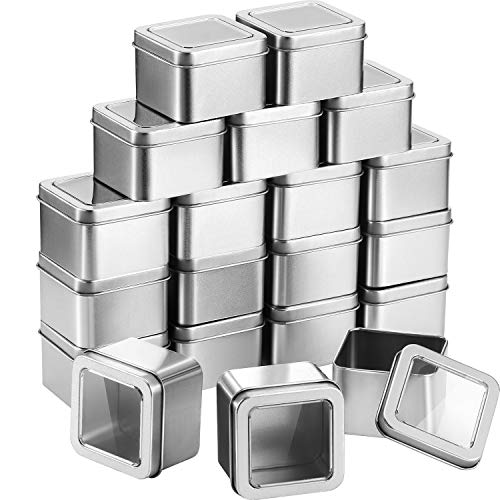 Pangda Empty 4-Ounce Capacity Clear Top Square Silver Metal Tins Great for Giftsand Treasures 20 Pack