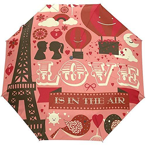 Gelukkig Valentijnsdag Leuke Parijs Eiffeltoren Liefde Harten Ballonnen Auto Open Paraplu Zon Regen Paraplu Anti UV Vouwen Automatische Paraplu