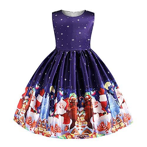 Cichic Weihnachten Festliches Ballkleid Abend Kleider für Mädchen Blau 3-4Jahre