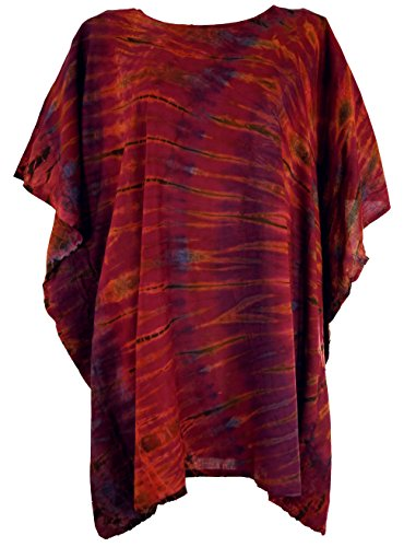 GURU SHOP Batik Kaftan, Ibiza-Style Tunika, Bluse, Damen Maxibluse, Rostrot, Synthetisch, Size:One Size, Blusen & Tunikas Alternative Bekleidung