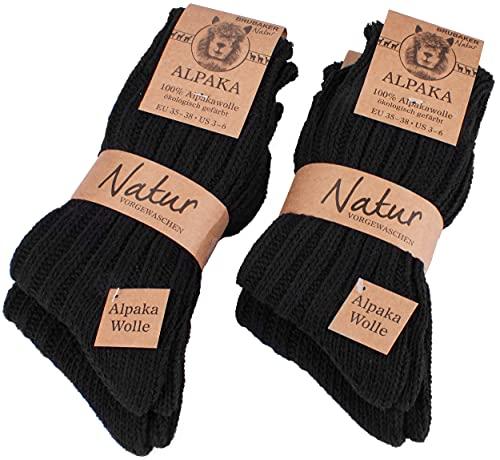 Brubaker 4 Paar Alpaka Socken aus 100prozent Alpakawolle - Wintersocken Set für Damen & Herren - Schwarz - Größe 39-42