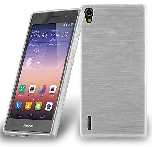 Cadorabo Funda para Huawei P7 en Plata - Cubierta Proteccíon de Silicona TPU Delgada e Flexible con Antichoque - Gel Case Cover Carcasa Ligera