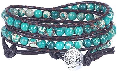 beadwork bracelet layer bracelet Mix Single Wrap bracelet with Chain on brown cotton cord