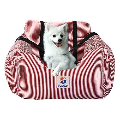 BLOBLO Sitzerhöhung für Hunde,Hunde Auto Reisebett mit Seitentasche und Hundeleine,Abnehmbarer Waschbarer,für Hunde mit Einem Gewicht unter 16kg,Sicherer und Bequem für Reisen (Rot)