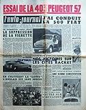 AUTO JOURNAL (L') [No 178] du 15/07/1957 - ESSAI DE LA 403 PEUGEOT 57 - J'AI CONDUIT LA 500 FIAT - FIASCO A MONZA - NOS VICTOIRES SUR LES CITES RACKET - LA SUPPRESSION DE LA VIGNETTE - LA LOTUS ET LES ANGLAIS -