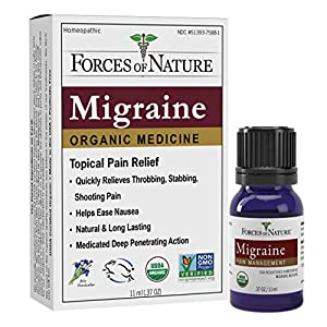Contains 1 - 11ml Bottle of Migraine Pain Mangement Extremely rapid pain relief for migraines. Works with the body's natural immunity. Deep penetrating action. All natural analgesic. World's first USDA Certified Organic, FDA registered homeopathic me...