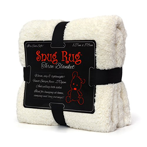 Snug Rug Kuscheldecke Decke Fleecedecke - Original Luxury Sherpa Werfen Warm Fleece (Creme)
