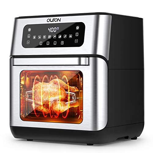 Outon 8-in-1 Air Fryer Toaster Oven 10.6 Quart, 1500W Convection Roaster with Rotisserie, Dehydrator, Pizza, Bakes & Reheats, Digital LCD Touch Screen, Auto Shut Off, Nonstick Easy Clean, Black Stainless