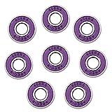 shamjina 8pcs/Set ABEC-9 Inline Skates Bearing 608rs 8mm Beaing for Scooter Skateboard - Purple, 28x8x7mm