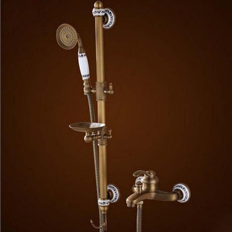 Gyps Faucet Waschtisch-Einhebelmischer Waschtischarmatur BadarmaturAlle Kupfer Antik Dusche Kit Dusche Wasserhahn Einfache Warme und Kalte Dusche Ein Voller Kupfer,Mischbatterie Waschbecken