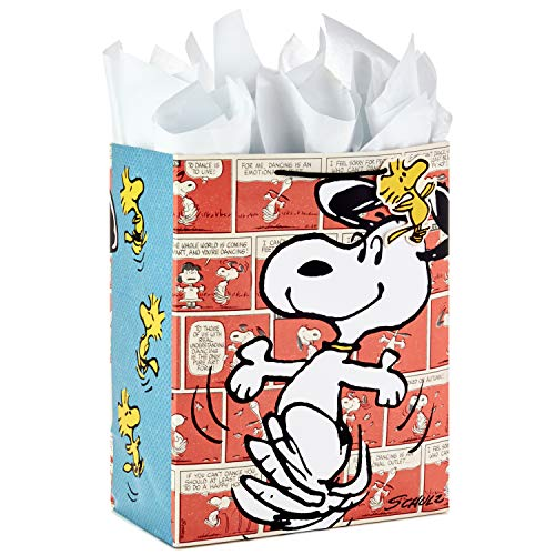 "Hallmark 13"" Large Gift Bag with Tissue Paper (Snoopy and Woodstock) for Christmas, Holidays, Birthdays, Mother's Day, Father's Day, Baby Showers, Easter or Any Occasion"