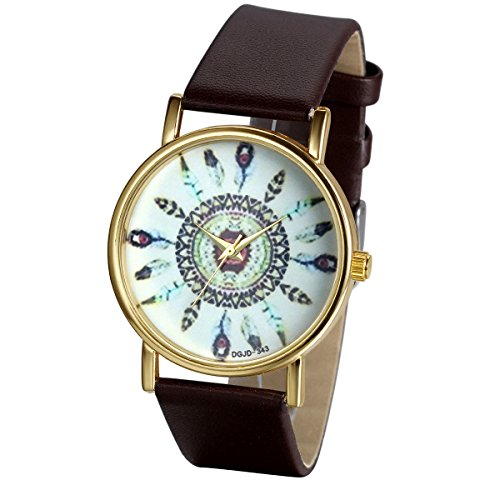JewelryWe Damen Armbanduhr, Charm Casual Analog Quarz Leder Armband Uhr mit Einzigartig Indischem Stammem Zifferblatt, Kaffee