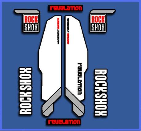 Ecoshirt TC-4DYI-U1R7 Stickers Autocollants Rock Shox Revelation Dp1019 Autocollants Autocollants Blanc