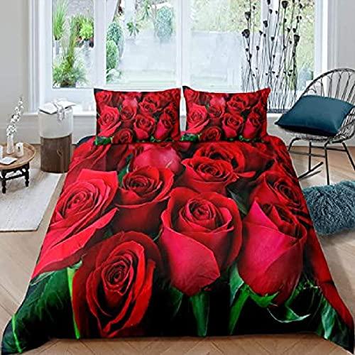 HSBZLH Funda De Edredón Beige Juego Funda Nórdica Flores Flor Rosa Roja Amantes Mujer Ropa Cama Botánica Naturaleza Regalo Parejas Niñas Flores En 3D Fundas Almohada Decoración Edredón 3 Piezas