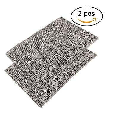 Sunnyglade 2 Pieces 21  X 34  Absorbent Chenille Fabric Microfiber Bath Mat Soft Shaggy Bathroom Floor Mats Toilet Shower Rugs Carpet (Grey, Coarse)