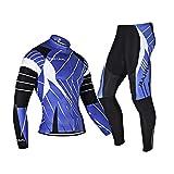 N/V D.Stil Ensemble de cyclisme à manches longues en polaire avec pantalon rembourré 3D pour VTT et vélo de course M-3XL (noir/bleu, M)