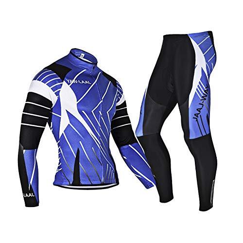 N/V D.Stil - Set di abbigliamento da ciclismo da uomo, a maniche lunghe, in pile, con imbottitura 3D, pantaloni per mountain bike, bici da corsa, M-3XL (nero/blu, L)