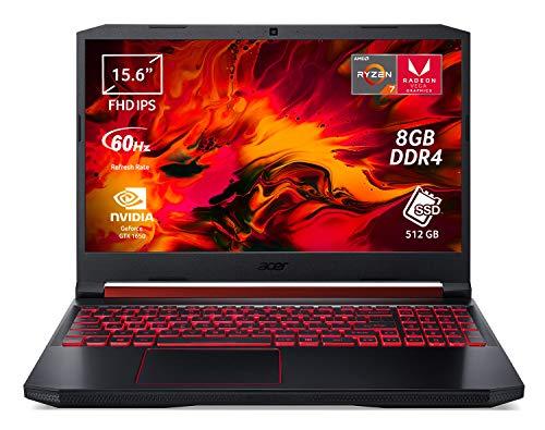 "Acer Nitro 5 AN515-43-R073 Notebook Gaming Portatile, AMD Ryzen 7 3750U, Ram 8GB DDR4, 512GB PCIe NVMe SSD, Display 15.6"" FHD IPS LED LCD, NVIDIA GeForce GTX 1650 4GB GDDR5, Windows 10 Home, Nero"