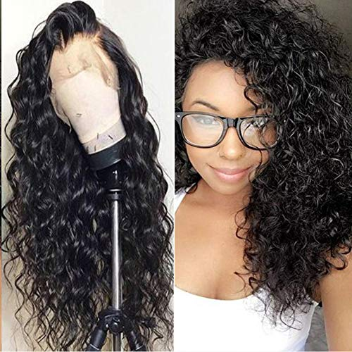 Perruque Femme Naturelle Péruvien 150 Density Lace Frontale Water Wave VIPbeauty Cheveux Humaine Vierge Couleur Naturel 14 Pouces