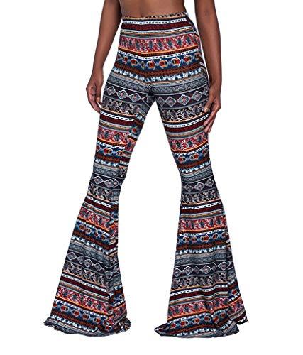 Adelina Dames damesbroek, lange Palazzo bedrukt met patroon, elastische taille, modieus, slim fit, stretch joggingbroek