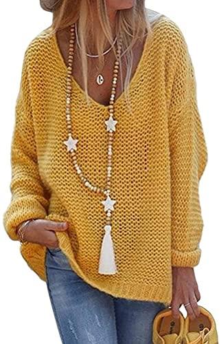 Tomwell Strickpullover Damen Pullover Winter V Ausschnitt Sexy Oberteil Damen Oberteile Elegant Gelb XL