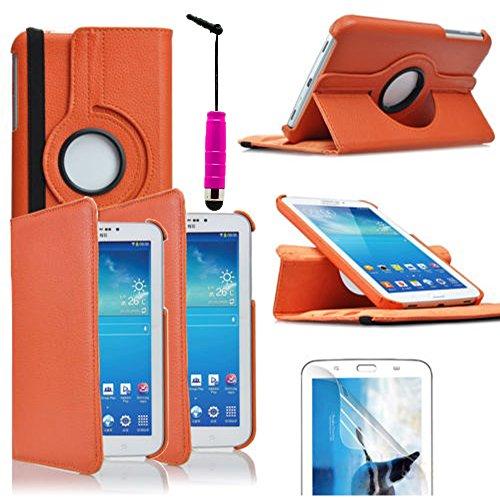ANNART - Funda giratoria de piel sintética con soporte integrado para Samsung Galaxy Tab 3 7.0 SM-T210 P3200 (incluye lápiz capacitivo), color naranja