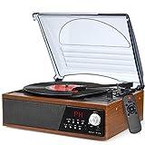 Record Player Turntable Vinyl Bluetooth Radio LP Player with Speaker USB Vinyl to MP3 Encoding Vintage 3 Speed Phonograph