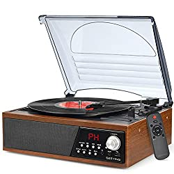 in budget affordable Record player, record player with Bluetooth, radio, LP with speaker, USB, vinyl for MP3 …