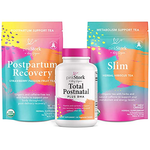 Pink Stork Recovery Bundle: Postpartum Prenatal Vitamins, Supports Labor + Delivery, Green Tea to Support Energy + Metabolism, Zinc, Women-Owned