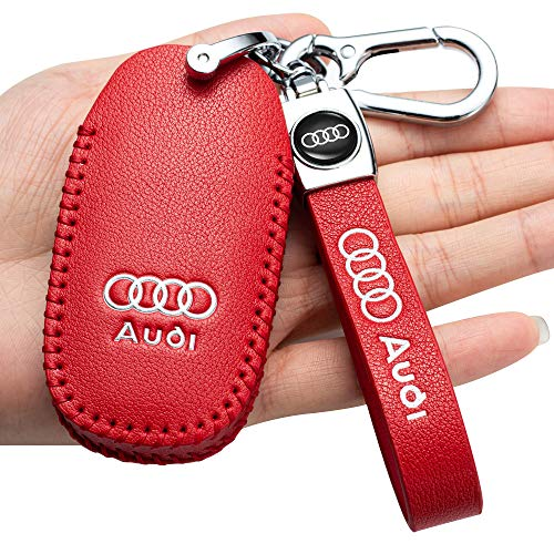 Leather Car Key Fod Cover Case Protector Keyless for Audi A4L A6L Q5 A5 A7 A8 S5 S7 Keyless Entry Smart Car Remote key Holder