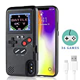 Gameboy Case for iPhone,LucBuy Retro Protective Cover Self-Powered Case with 36 Small Game, Full Color Display, Shockproof Video Game Case for iPhone X/Xs/MAX/Xr/6/7/8Plus (Black, iPhone Xs MAX)