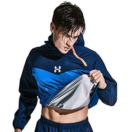 HOTSUIT Sauna Suit Men Weight Loss Jacket Pant Gym Workout Sweat Suits, Navy, XXL