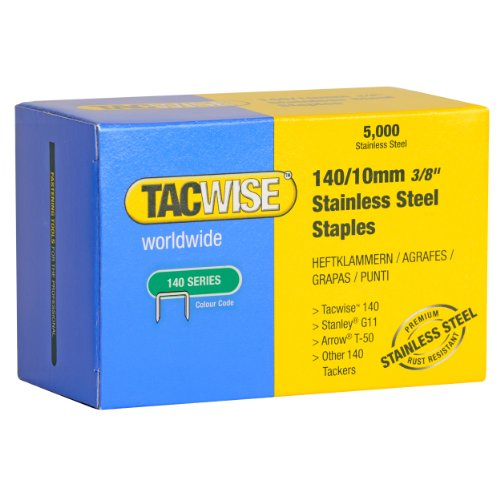 Tacwise 140 3/8-Inch Stainless Steel Staples for Hand/Hammer Tackers, Box of 5000 (0477)