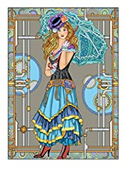 Creative Haven Steampunk Fashions Coloring Book (Creative Haven Coloring Books) #4