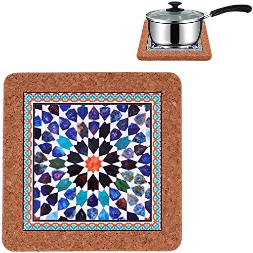 CORKCHO Salvamanteles de Cerámica, Salvamanteles Cocina 19x19x1.5cm, Diseño Azulejo Sevilla para Cocina, Comedor.Diseño 1