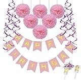 Queta Décorations d'anniversaire, Happy Birthday Bannière Serpentins Pompon Fleur Set + 2×Canon à Confettis +...