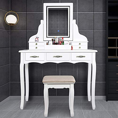 ENSTVER LED Vanity Table,7 Drawers Makeup Dressing Table with Cushioned Stool-White