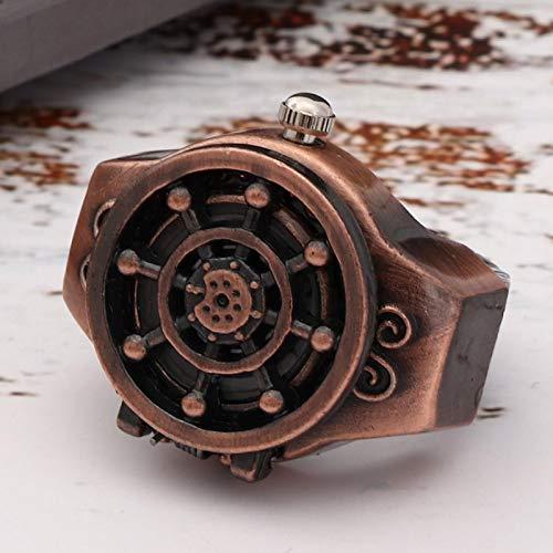 Reloj de anillo de dedo Reloj de anillo de cubierta abatible 2 colores Correa de reloj elástica Movimiento de cuarzo para diferentes tamaños de dedo Patrón de timón(Red ancient)