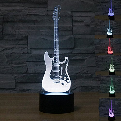3D-Lampen mit optischen Illusionen, KINGCOO, visuelle 3D-Tisch-/Büronachtbeleuchtung, 7 Farbwechsel, USB-Touchscreen-Taste, Schreibtischlampenatmosphäre, Kunststoff, gitarre 0.50W 5.00V