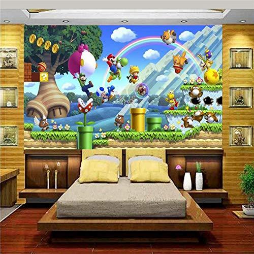 Fototapeten Moderne Wanddeko 3D Tapete Fototapete Benutzerdefinierte Mural Kinderzimmer Super Mario Welt Bäume Malerei Sofa Tv Hintergrund Wand Vlies Aufkleber, 400 Cm * 280 Cm