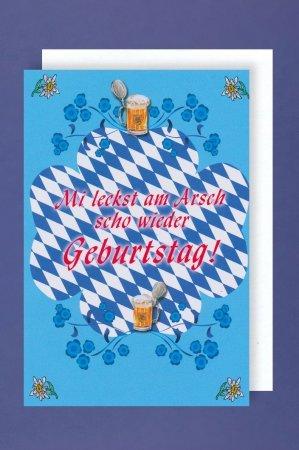 Geburtstagskarte Bayern Mi leckst am Arsch.Doppelkarte inkl.Umschlag