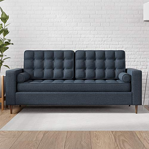 Edenbrook Lynnwood Upholstered Sofa with Square Arms and Tufting-Bolster Throw Pillows Included, Navy