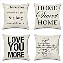 Leaveland Love You Hug Sweet Home Life Quotes Set of 4 18×18 Inch Cotton Linen..